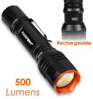 Farpoint 500 Lumen LED Rechargeable Flashlight