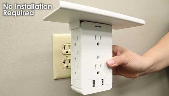 Dual USB Outlet Tower Charger with Built-In Shelf