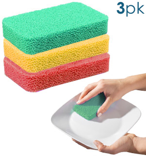 3-Pack of Odor Resistant Silicone Scrubbing Sponges