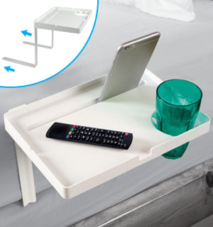 Instant Bedside Table with Device Cradle and Cupholder