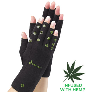 Hempvana Hands: Compression Gloves for Support and Pain Relief - L/XL Size