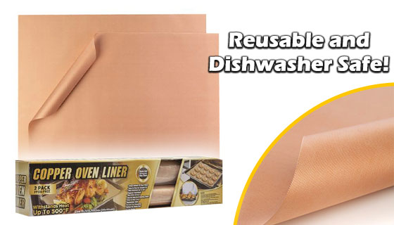 2-PK of Jumbo-Sized Copper Oven Mats