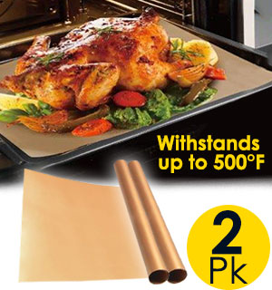 2-PK of Jumbo-Sized Copper Oven/Grill Mats