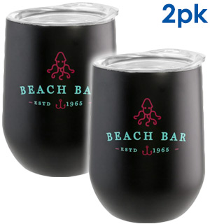 Beach Bar Stainless Steel Wine Glasses 2pk - #9048A