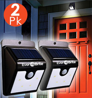 2-Pack of Ever Brite Solar Powered Deluxe Outdoor Security Lights - #9074