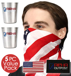 Patriotic Celebration Kit includes 2 patches and 2 shot glasses.