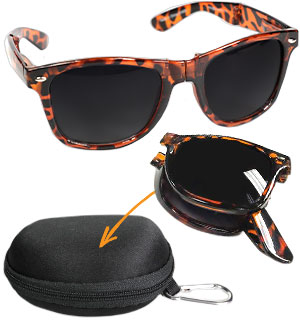 Foldable Tortoise Shell Sunglasses with Travel Case - #9089