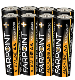 Farpoint Alkaline Premium Plus AA Batteries - 8-Pack - #9092