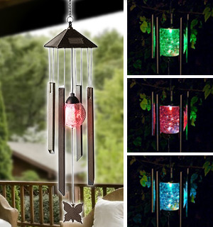 Solar Power Wind Chime With Soothing Color Changing Light