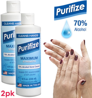 2-Pack of Purifize 8 oz Hand Cleaner: 70% Alcohol - Exceeds CDC Recommendations