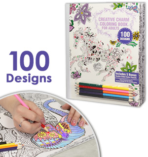 Creative Charm Coloring Book - 100 Design and Includes 5 Colored Pencils