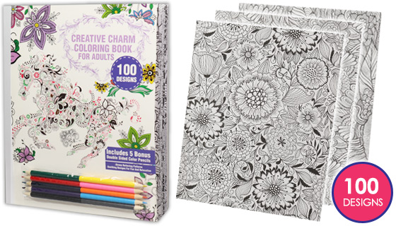 4pk Creative Charm Coloring Books - Includes 5 Colored Pencils