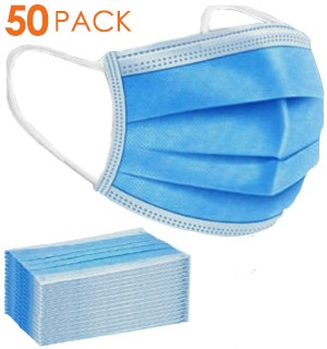 (50-PK) Disposable Face Masks<br />Surgical Style Face Covering
