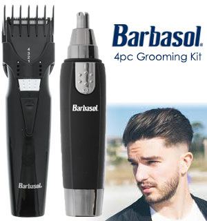 4 Piece Grooming Set with Nose Hair Timmer by Barbasol - #9118