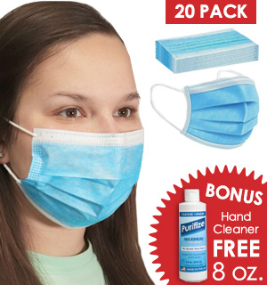 20-Pack of 3-Layer Disposable Non-Medical Face Masks w/ FREE 8oz Bottle of Purifize - #9140
