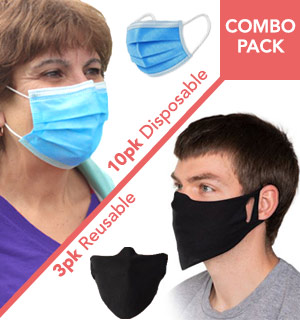 Mask Combo Kit:10 Disposable and 3 Reusable Cloth Masks - #9142