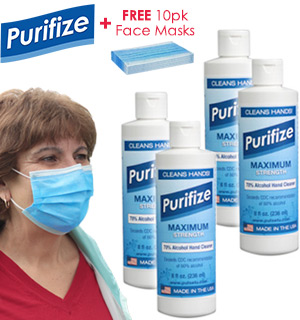4-Pack of Purifize 2 in 1 Sanitizer and Disinfectant w/ FREE 10-P… - #9143