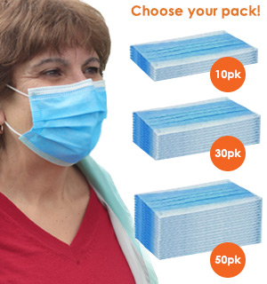 3-Layer Non-Medical (Disposable) Face Masks (10, 30 or 50 Packs)