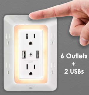 Multiport 6 Outlet and 2 USB Charging Station Night Light - #9147