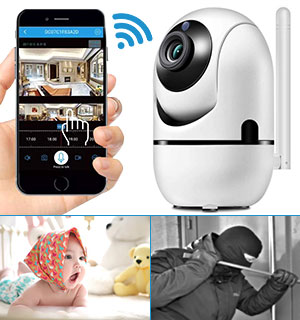 1080p Wifi Pan and Tilt Security Camera with Night Vision - #9151