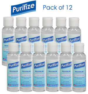 12-Pack of Purifize 2 oz Hand Sanitizer - Made in the USA - #9152-12PK