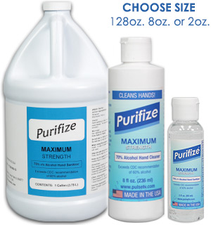 Purifize Hand Sanitizer and Surface Cleaner - Made in the USA - Choose Your Size - #9163
