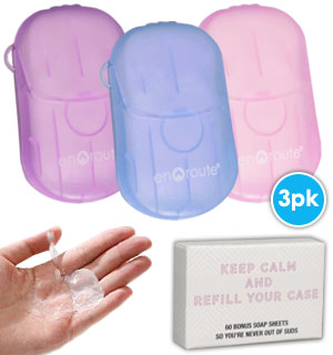 3-Pack Soap N' Suds On-The-Go Soap Sheets