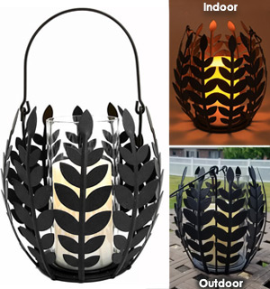Decorative Iron Leaf Basket with Realistic Flameless Candle - #9174