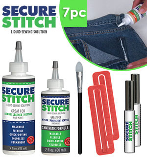 8pc Secure Stitch Liquid Sewing Kit with Travel Case