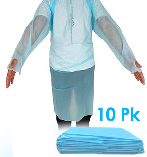 Disposable Isolation Gown for Germ Protection - 10pk - #9190