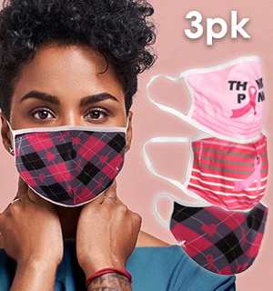 Breast Cancer Edition EZ-Breathe Reusable And Washable Cloth Masks - Think Pink 3pk - #9197