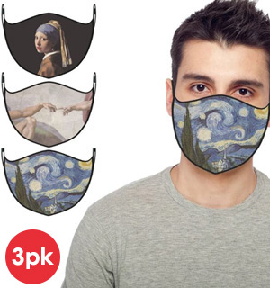 3-Pack of  Reusable Masks - Famous Art Masterpieces (Starry Night, Adam, Pearl Earrings) - #9198