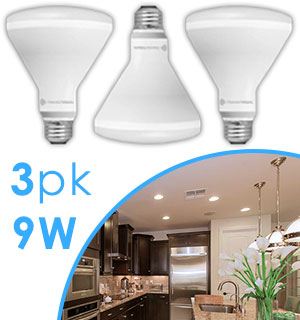 Member's Mark 9W Dimmable BR30 LED Soft White Bulbs - 3Pk