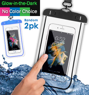 Glow-in-the-Dark Waterproof Smartphone Pouch With Lanyard 2-Pack