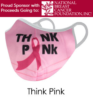 Think Pink BREAST CANCER Face Mask - Reusable W/ Filter Pocket