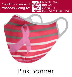 Pink Ribbon with Stripes BREAST CANCER Face Mask - Reusable W/ Filter Pocket