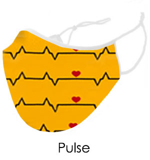 Yellow Heartbeat Face Mask - Reusable W/ Filter Pocket