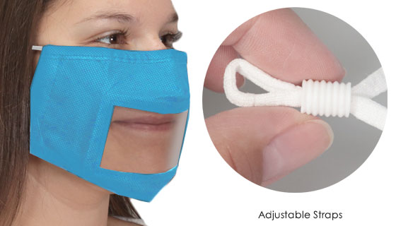 Clear Face Masks - Great for Hearing Impaired - BLUE