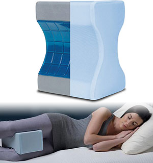 Calming Comfort Cooling Knee Pillow with Charcoal-Infused Memory Foam