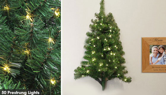 3 Ft Wall Hanging Christmas Tree with Floor Stand and 50 Pre-Strung LED Lights