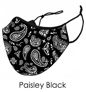 Paisley Black Face Mask - Reusable W/ Filter Pocket