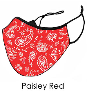 Paisley Red Face Mask - Reusable W/ Filter Pocket