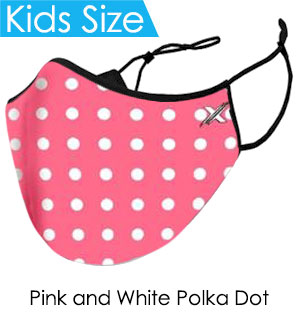 Kids Pink and White Polka Dot Face Mask - Reusable W/ Filter Pocket