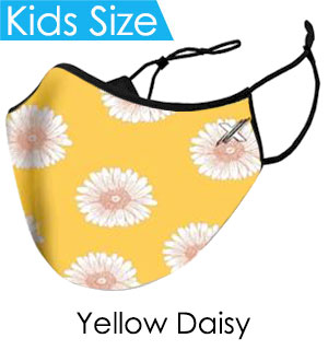 Kids Yellow Daisy Face Mask - Reusable W/ Filter Pocket