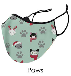 Christmas Kitty Paws Face Mask - Reusable W/ Filter Pocket