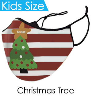 Kids Christmas Tree Face Mask - Reusable W/ Filter Pocket