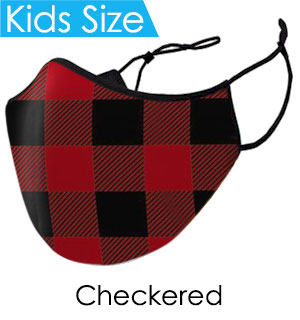 Kids Red and Black Checkered Face Mask - Reusable W/ Filter Pocket
