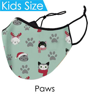 Kids Christmas Paws Face Mask - Reusable W/ Filter Pocket