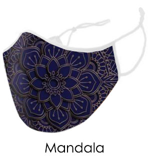 Blue and Gold Mandala Face Mask - Reusable W/ Filter Pocket