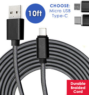 10 Foot Heavy Duty USB Charging Cable (Available In Micro USB, And USB-C)